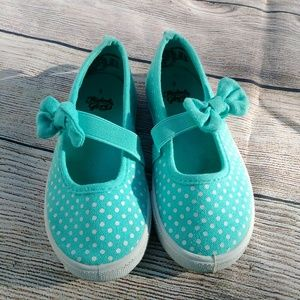 Faded Glory Teal Polka Dot slip ons with bow
